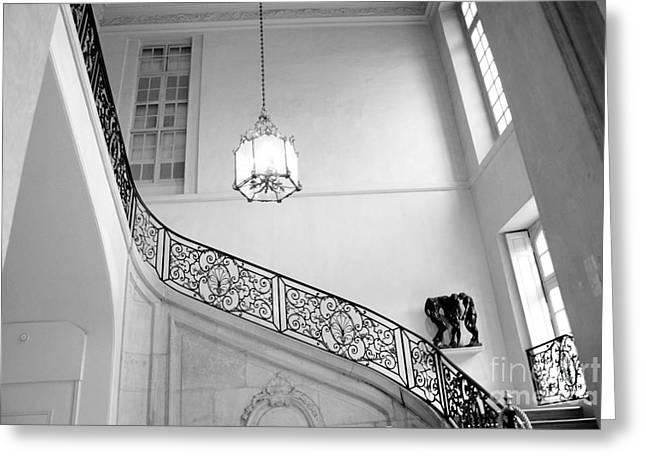 Staircase Greeting Cards - Paris Rodin Museum Grand Staircase Black and White - Rodin Museum Architecture Staircase Greeting Card by Kathy Fornal