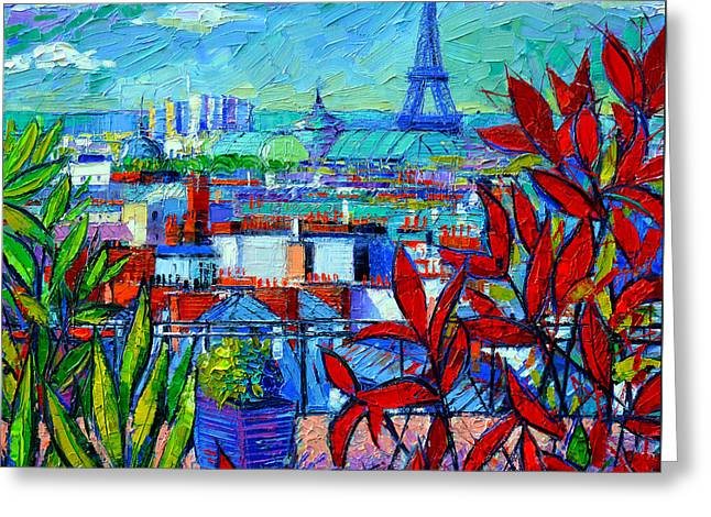 Europe Greeting Cards - Paris Rooftops - View From Printemps Terrace   Greeting Card by Mona Edulesco