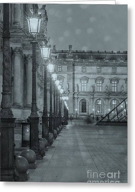 Historic Architecture Greeting Cards - Paris. Louvre at Twilight Greeting Card by Juli Scalzi