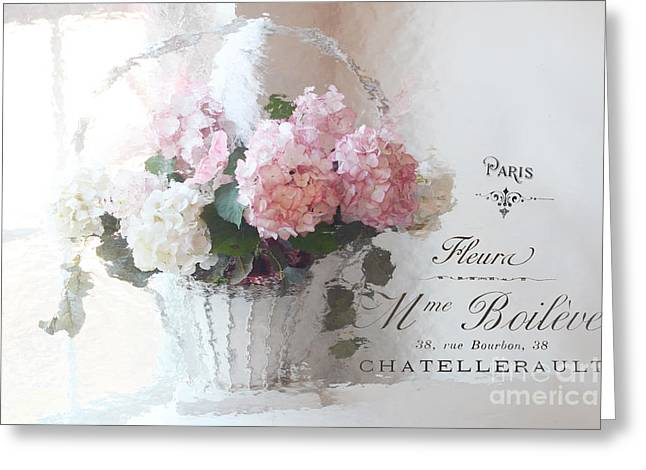 Dreamy Pink Floral Art Greeting Cards - Paris Shabby Chic Romantic Pink White Hydrangeas In Basket - Paris Romantic Basket of Flowers Greeting Card by Kathy Fornal