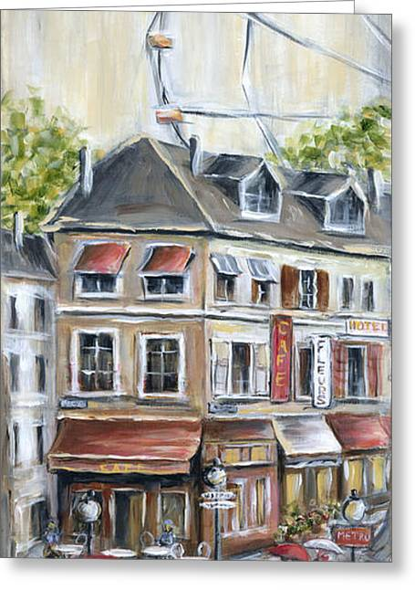 France Doors Paintings Greeting Cards - Paris Shops And Ferris Wheel  Greeting Card by Marilyn Dunlap