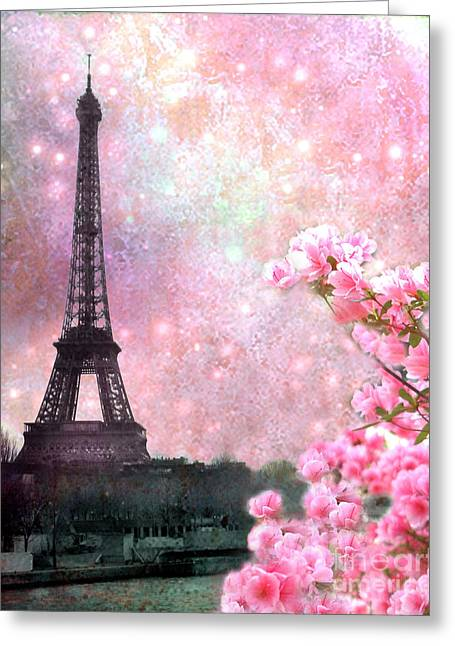 Eiffel Photographs Greeting Cards - Paris Spring Pink Dreamy Eiffel Tower Romantic Pink Flowers - Paris Eiffel Tower Twinkle Stars Greeting Card by Kathy Fornal