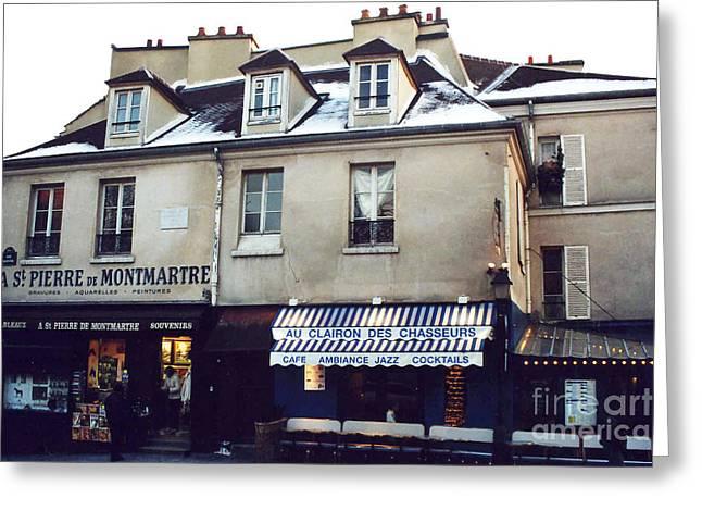 Winter Photos Greeting Cards - Paris St. Pierre Montmartre Cafe Restaurant Pub Photos - Paris Winter Snow In Montmartre District  Greeting Card by Kathy Fornal