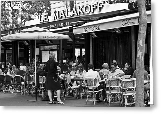 Wine Service Photographs Greeting Cards - Paris Street Cafe - Le Malakoff Greeting Card by Nomad Art And  Design