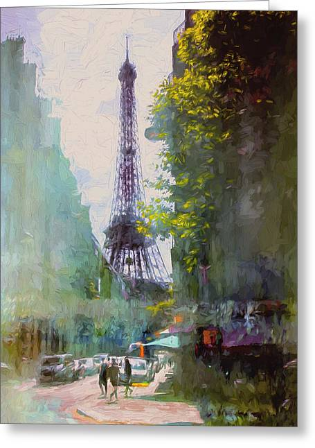 City Art Greeting Cards - Paris Street Greeting Card by John Rivera