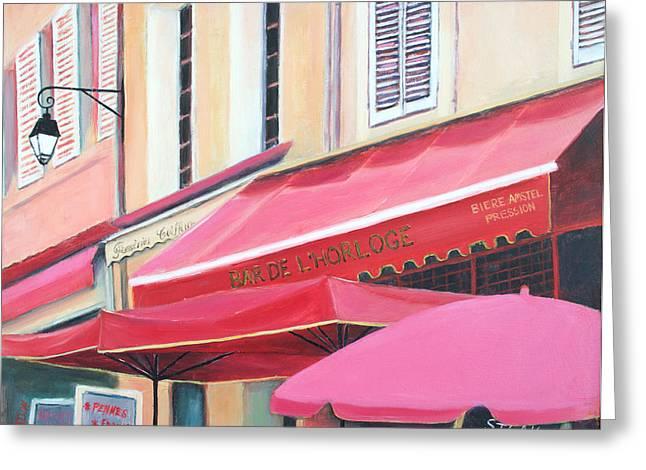 """""""french Poster"""" Greeting Cards - Paris Street Scene - Bar De LHorloge Greeting Card by Jan Matson"""