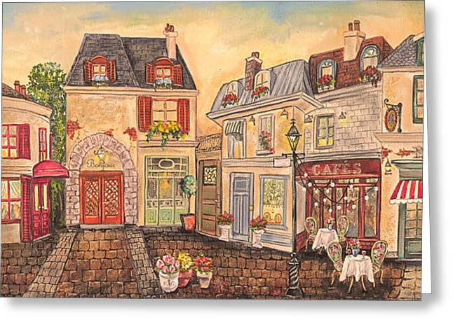 French Bicycle Shop Greeting Cards - Paris Street Scene-JP2861 Greeting Card by Jean Plout