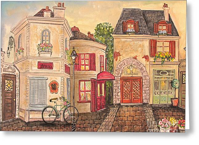French Bicycle Shop Greeting Cards - Paris Street Scene-JP2866 Greeting Card by Jean Plout