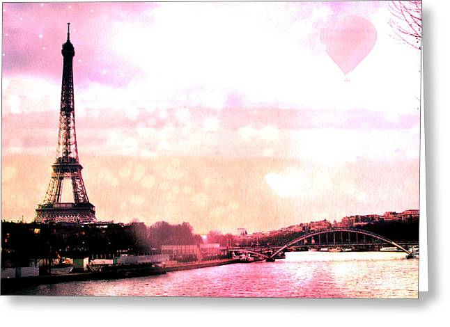 Balloon Art Print Greeting Cards - Paris Surreal Eiffel Tower Pink Yellow Abstract Greeting Card by Kathy Fornal
