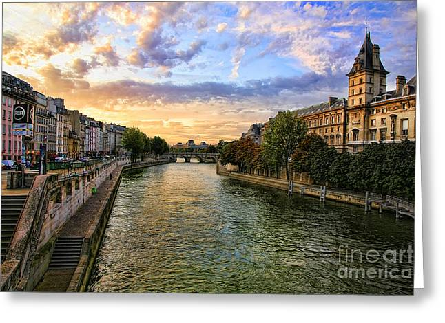 Chuck Kuhn Greeting Cards - Paris The Seine River C Greeting Card by Chuck Kuhn