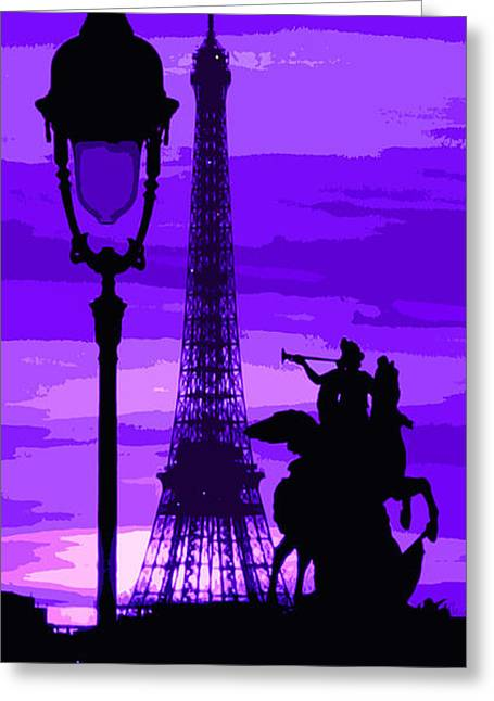 Abstract Digital Art Greeting Cards - Paris Tour Eiffel Violet Greeting Card by Yuriy  Shevchuk