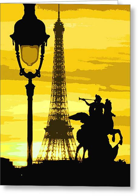 Light Greeting Cards - Paris Tour Eiffel Yellow Greeting Card by Yuriy  Shevchuk