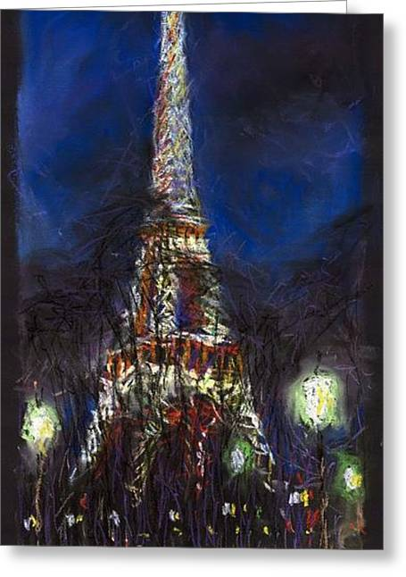 Pastel Greeting Cards - Paris Tour Eiffel Greeting Card by Yuriy  Shevchuk