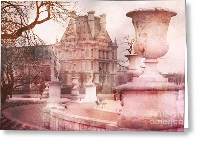 Paris Tuileries Pink Garden - Jardin Des Tuileries Garden - Paris Landmark Garden Sculpture Park Greeting Card by Kathy Fornal
