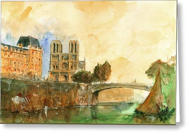 Notre Dame Greeting Cards - Paris watercolor Greeting Card by Juan  Bosco