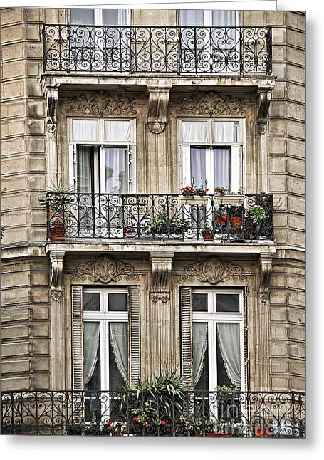 Basket Pot Greeting Cards - Paris windows Greeting Card by Elena Elisseeva
