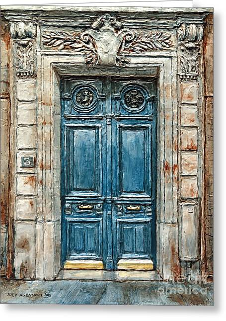 French Doors Greeting Cards - Parisian Door No. 3 Greeting Card by Joey Agbayani