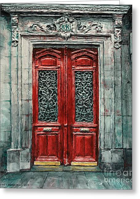 French Doors Greeting Cards - Parisian Door No. 33 Greeting Card by Joey Agbayani
