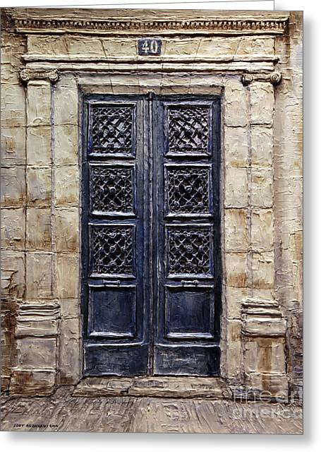 Forty Paintings Greeting Cards - Parisian Door No.40 Greeting Card by Joey Agbayani