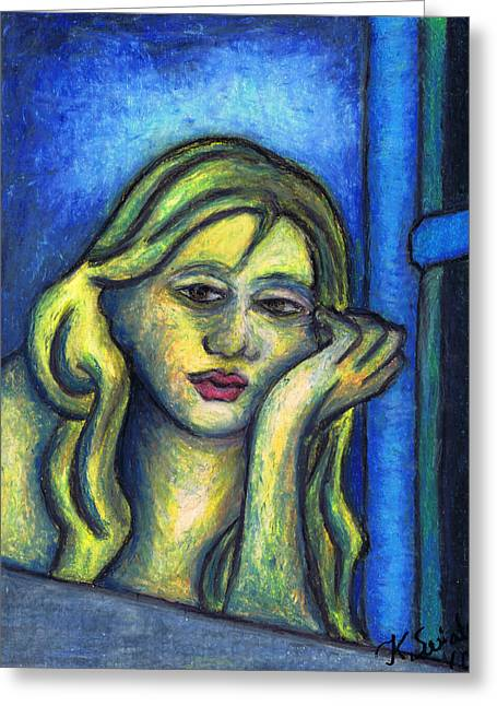 Expression Pastels Greeting Cards - Parisian Woman Waiting By The Window Still Greeting Card by Kamil Swiatek