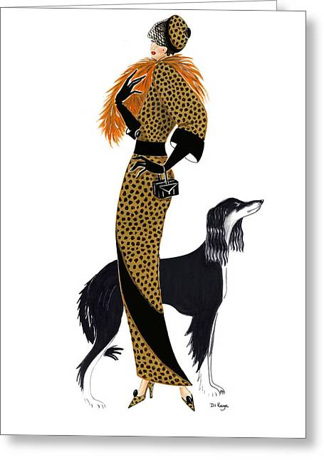 Parisien Chic - Monique And Sally Greeting Card by Di Kaye