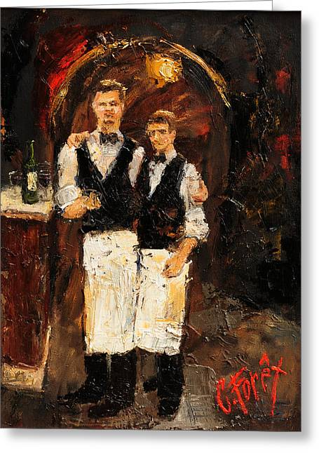 Gay Bar Paintings Greeting Cards - Parisienne Servers Greeting Card by Carole Foret
