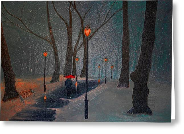 Snowy Night Greeting Cards - Park at Night Glass Greeting Card by Ken Figurski