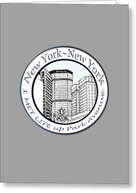 Pen Greeting Cards - I Met Life up Park Avenue NYC Greeting Card by James Lewis Hamilton