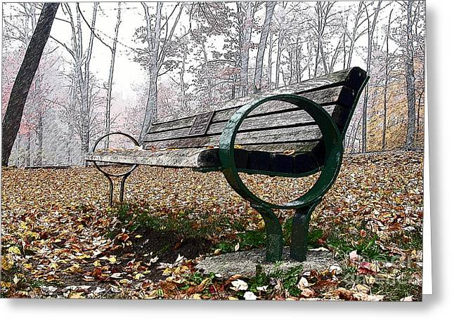 Park Benches Greeting Cards - Park Bench Greeting Card by Edward Sobuta