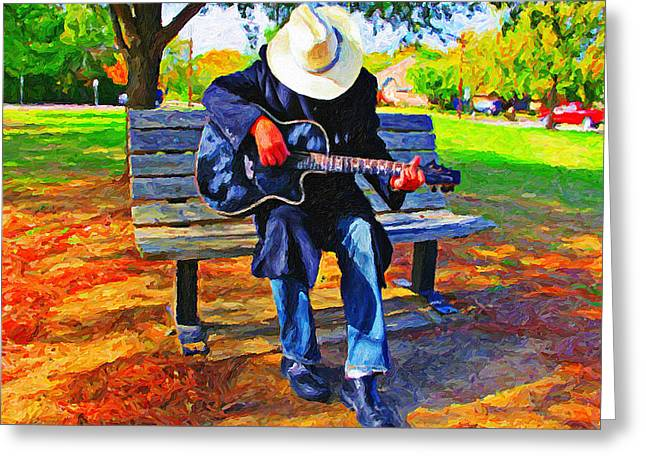Park Bench Guitarist Greeting Card by Le Artman