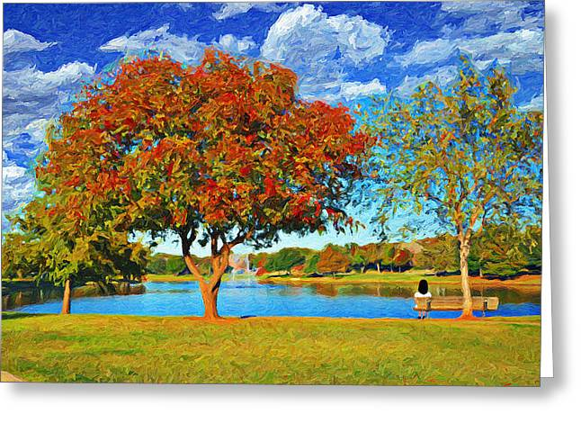 Pond In Park Greeting Cards - Park Bench View Greeting Card by Le Artman