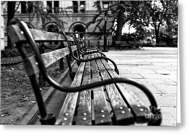 Park Benches Greeting Cards - Park Bench View mono Greeting Card by John Rizzuto
