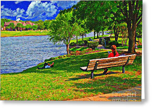 Lady Washington Greeting Cards - Relaxing In The Park Greeting Card by Le Artman