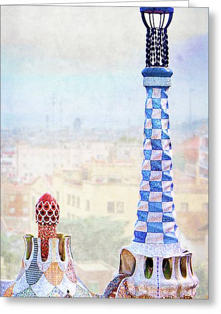 Park Guell Candy House Tower - Gaudi Greeting Card by Weston Westmoreland