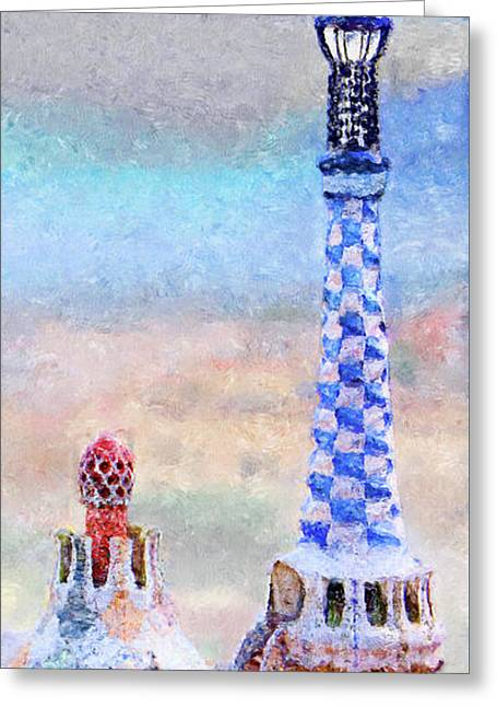 Park Guell Tower Painting- Gaudi Greeting Card by Weston Westmoreland