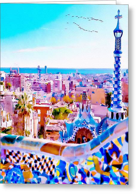 Modern Digital Art Digital Art Greeting Cards - Park Guell Watercolor painting Greeting Card by Marian Voicu
