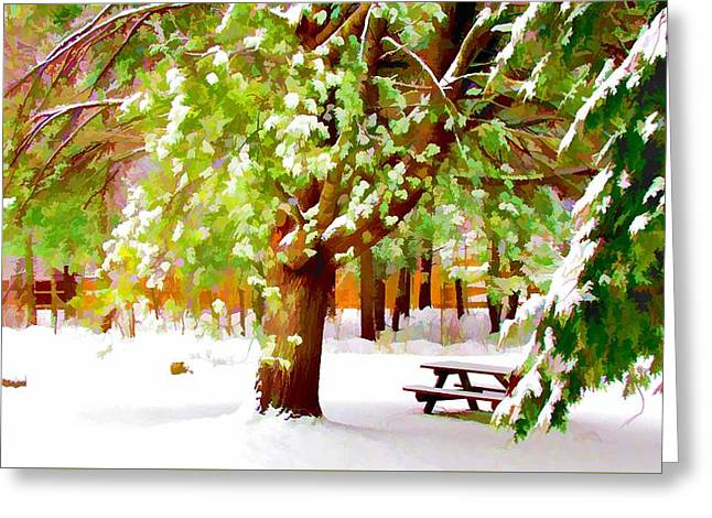 Park In Winter Greeting Card by Lanjee Chee