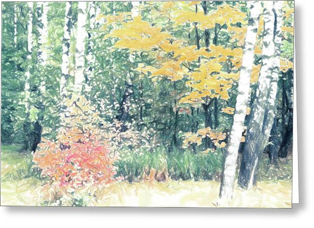 Fall Colors Greeting Cards - Russian fall scene Greeting Card by Alexey Stiop