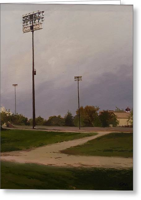 Baseball Field Paintings Greeting Cards - Park LIghts Greeting Card by Lydia Martin
