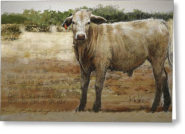 Steer Mixed Media Greeting Cards - Park Link Steer Greeting Card by William Beauchamp