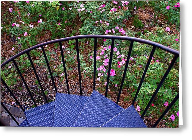 Stair-rail Greeting Cards - Park of Roses Greeting Card by Monica Lewis