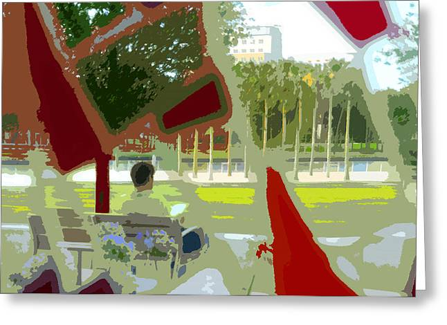 Park Benches Greeting Cards - Park reading Greeting Card by David Lee Thompson