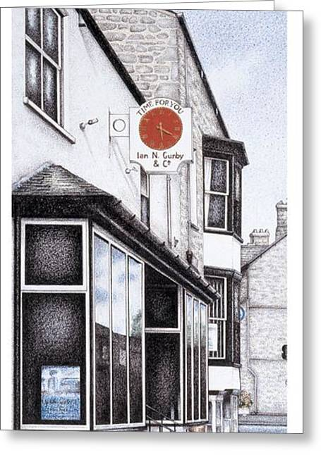 Park Road Clock Greeting Card by Sandra Moore