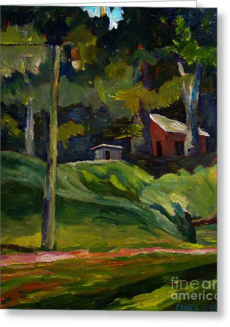 Baseball Paintings Greeting Cards - Park Shadows and Lights Greeting Card by Charlie Spear