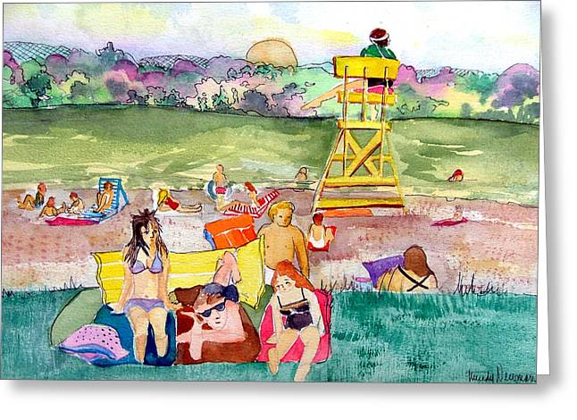 Beach Towel Mixed Media Greeting Cards - Park Side Beaches Greeting Card by Mindy Newman