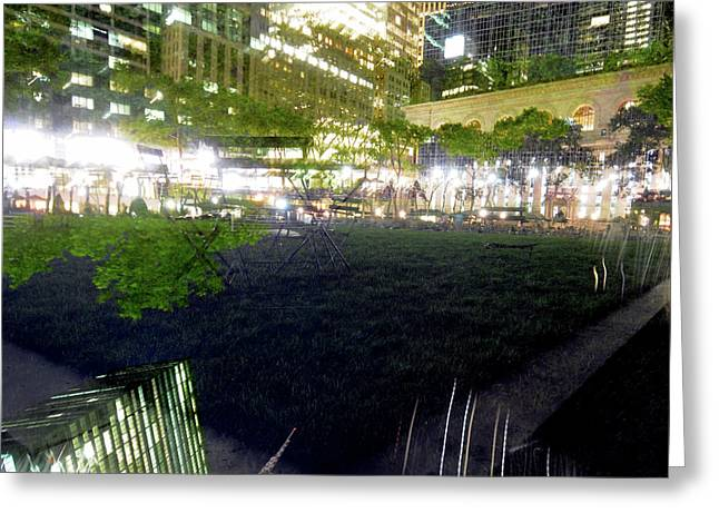 Bryant Park Greeting Cards - Park within a park Greeting Card by Mike Lindwasser Photography
