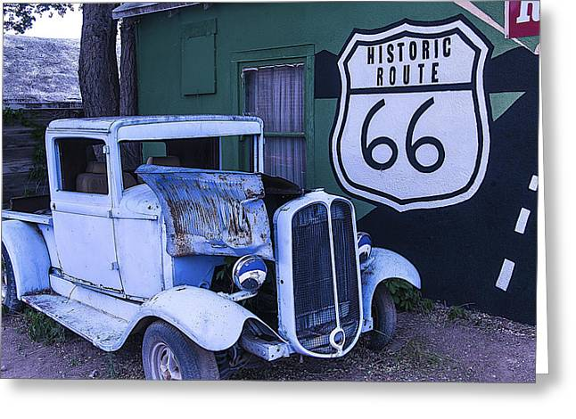 Window Signs Greeting Cards - Parked Blue Truck Greeting Card by Garry Gay