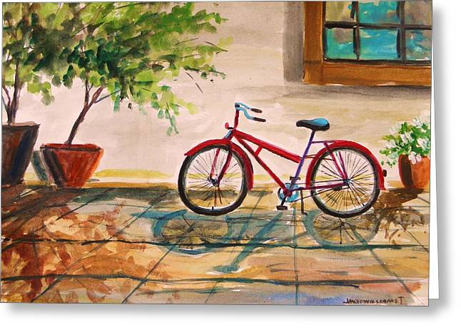Jmwportfolio Drawings Greeting Cards - Parked in the Courtyard Greeting Card by John  Williams