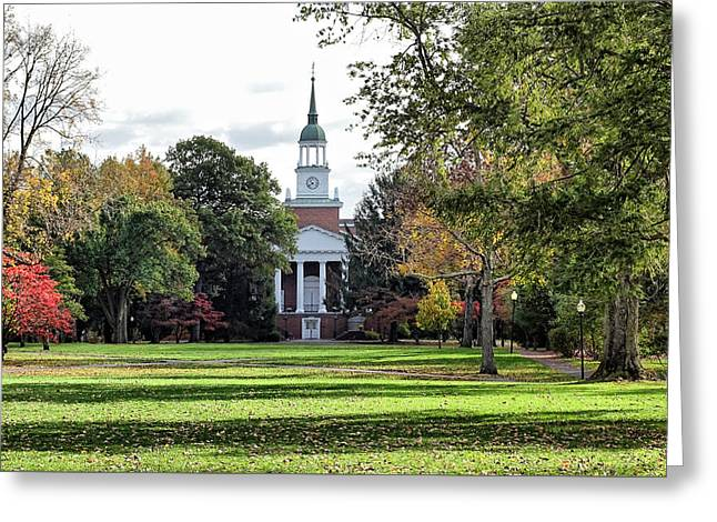 Indiana Autumn Greeting Cards - Parker Hall - Hanover College Greeting Card by Sandy Keeton
