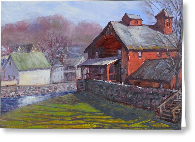 Old Mill Scenes Paintings Greeting Cards - Parker Mill in April Greeting Card by Ken Fiery